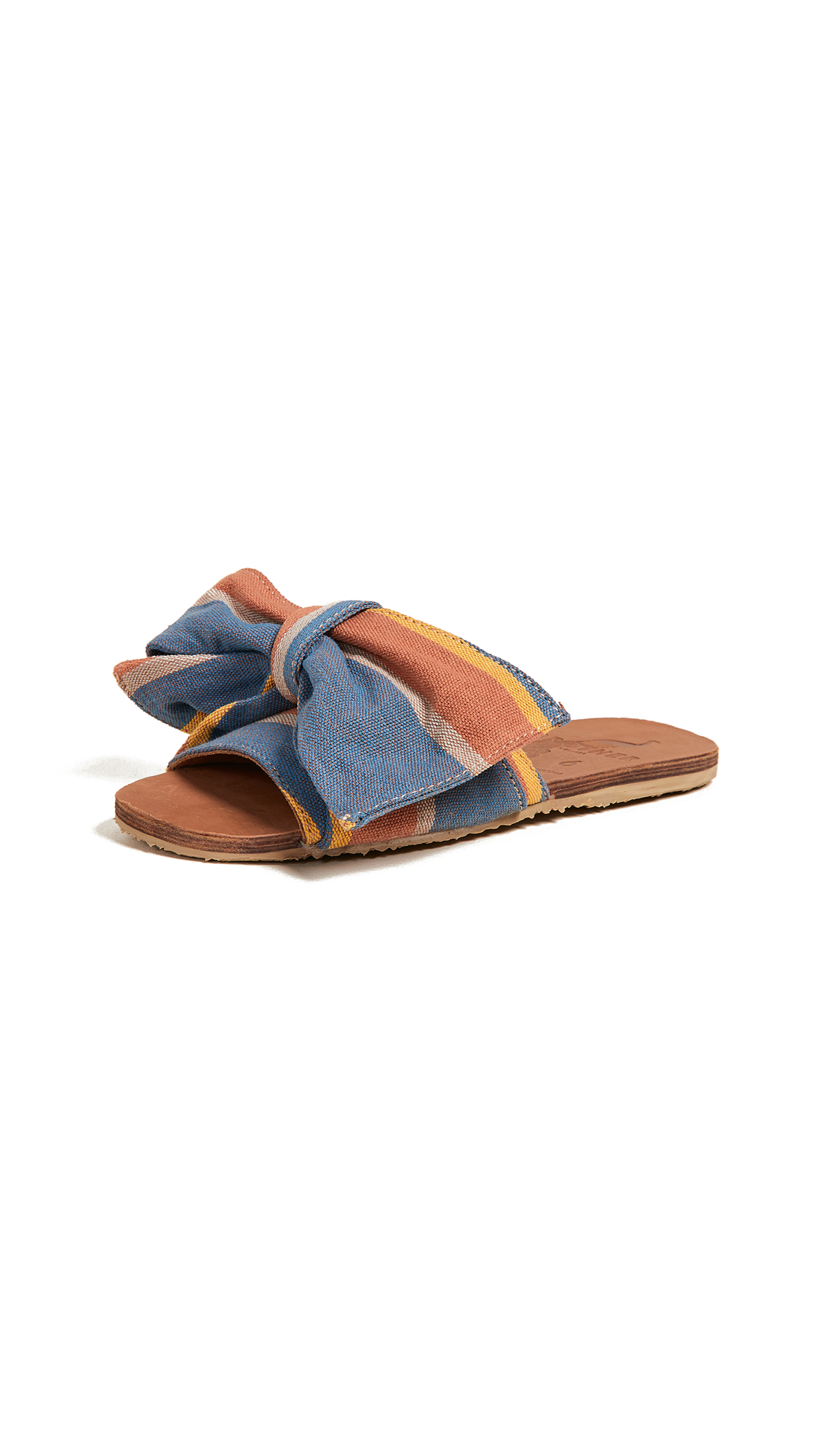 Brother Vellies Burkina Knot Slides - Papaya Stripe