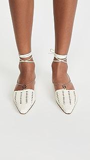 Brother Vellies Olivia 链条环绕式梭织平底鞋