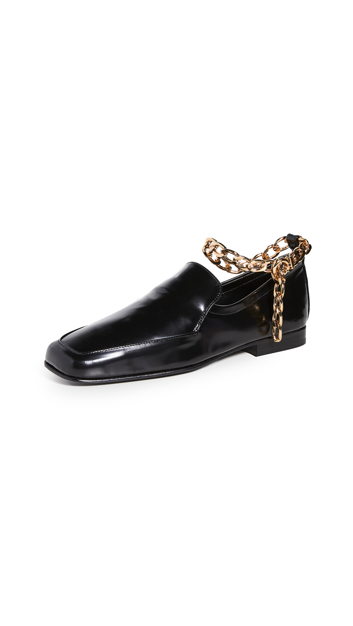 By Far Leathers NICK CHAIN ANKLET LOAFERS