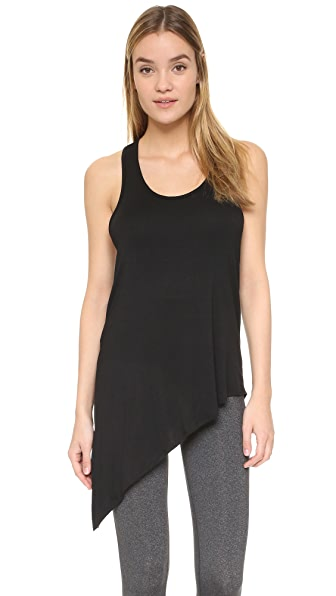 Beyond Yoga Heathered Asymmetrical Slit Racer Tank