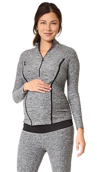 Beyond Yoga Featherweight Maternity Half Zip Pullover - Black/White