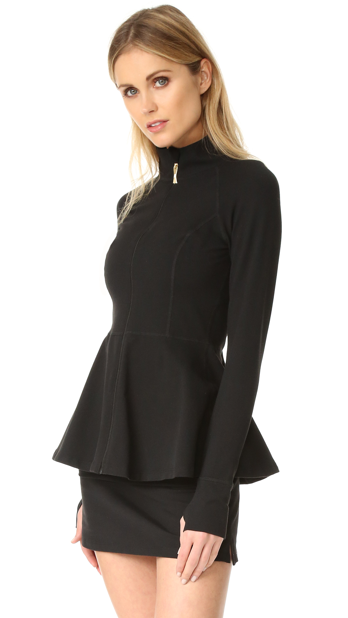 Beyond Yoga Kate Spade New York Back Bow Flounce Jacket - Jet Black