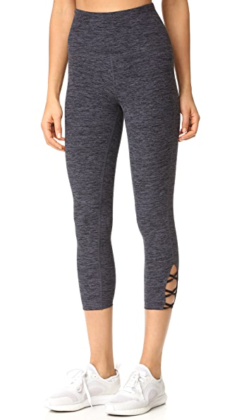 Beyond Yoga Space Dye High Waist Interlooped Capri Leggings - Black/Steel