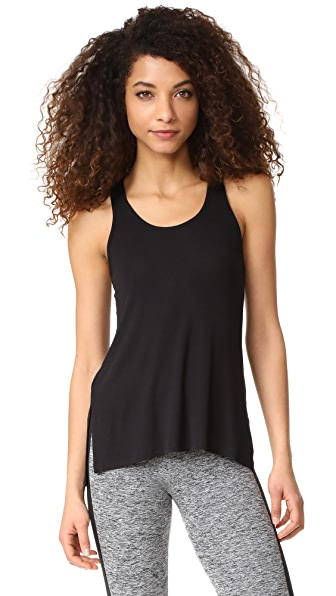 Beyond Yoga On & Off Ribbed Racer Tank In Black