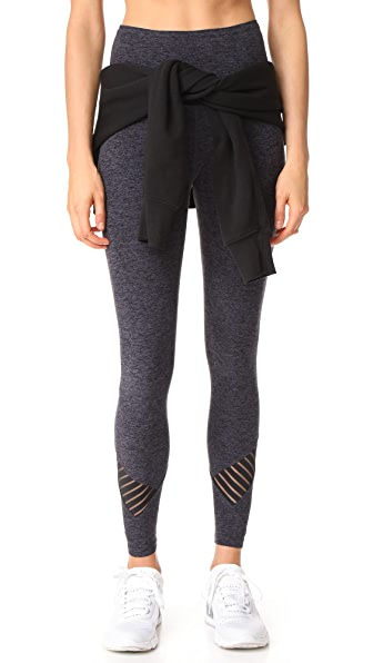 Beyond Yoga Stacked and Sliced Leggings In Black/Steel