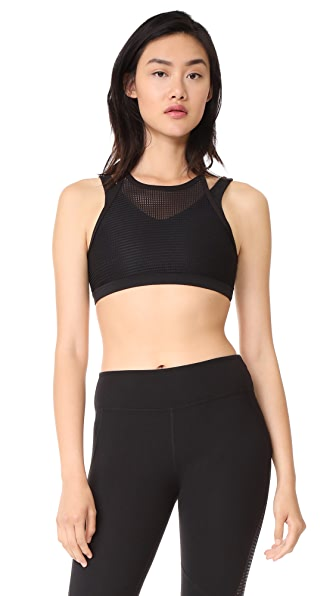 Beyond Yoga Quilt While Ahead Overlay Bra In Jet Black