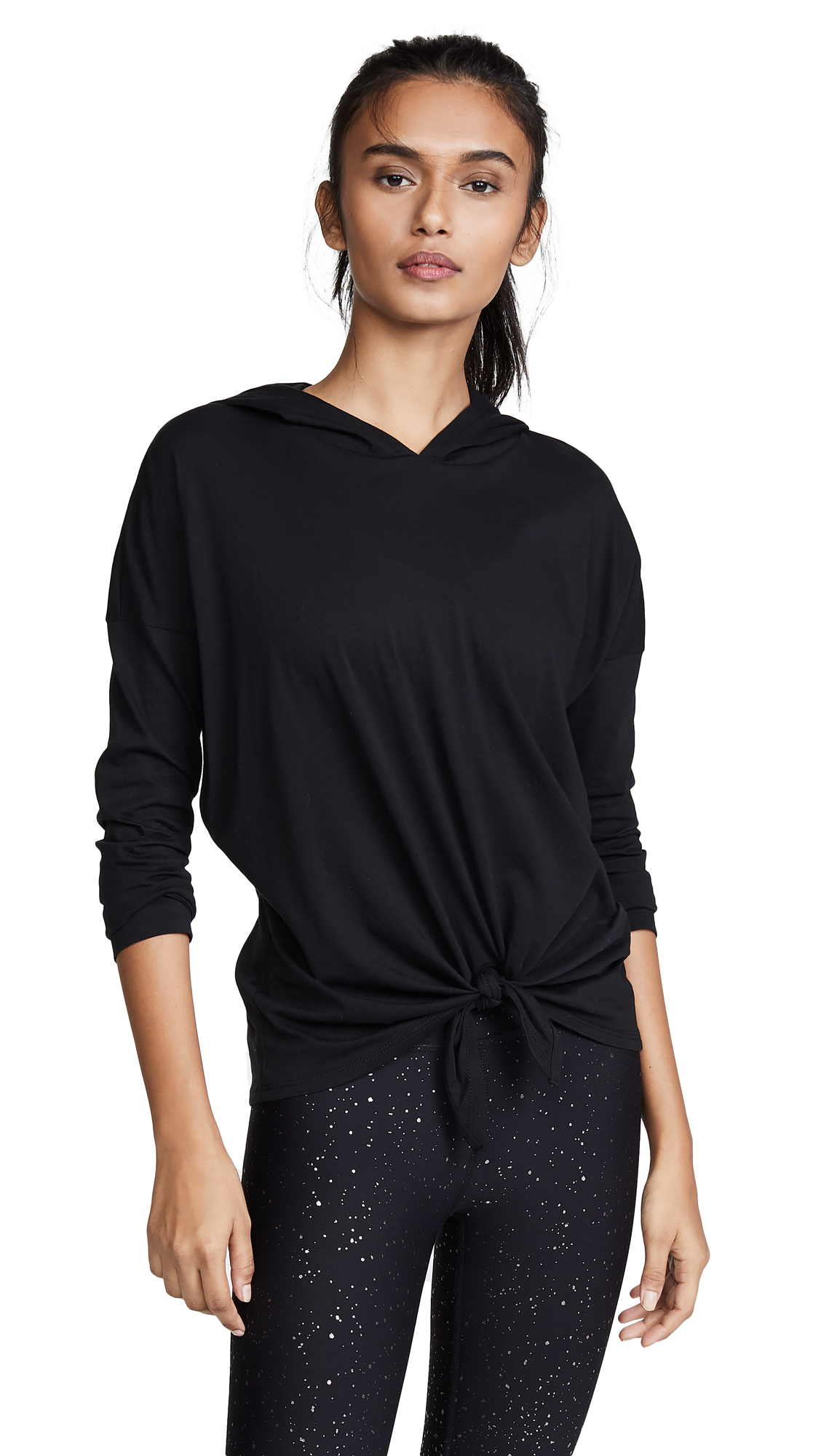 BEYOND YOGA All About It Tie-Front Hooded Pullover Sweater in Black
