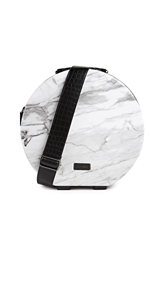 CALPAK Baye Small Hat Box In Milk Marble