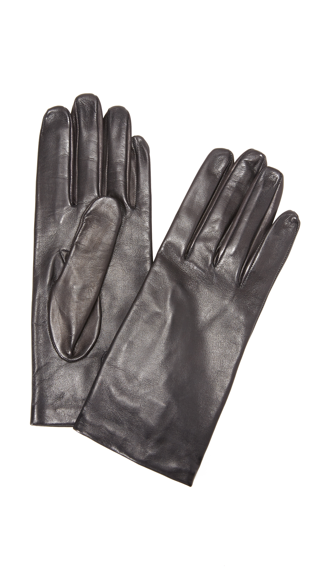 Carolina Amato Full Leather Gloves - Black