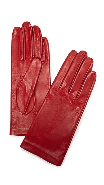Carolina Amato Full Leather Gloves - Red at Shopbop