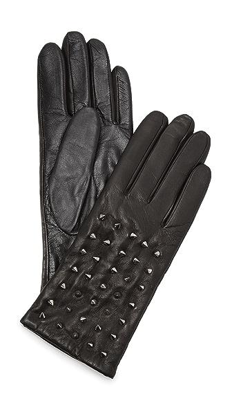 Carolina Amato Studded Classic Leather Gloves - Black at Shopbop