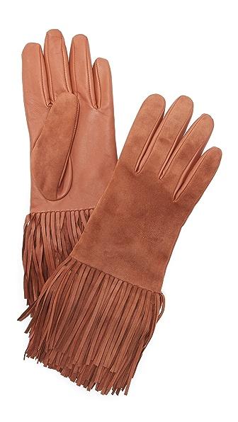 Carolina Amato Leather & Suede Fringe Gloves - Camel at Shopbop