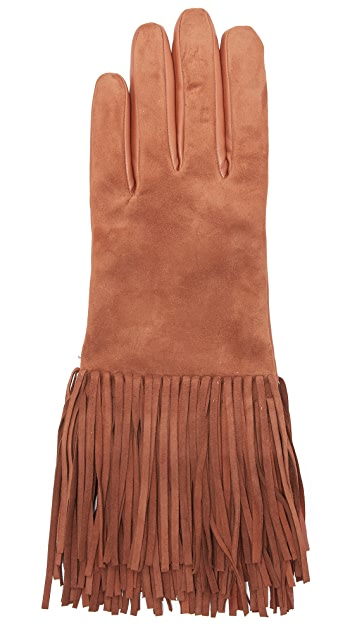 Carolina Amato Leather & Suede Fringe Gloves