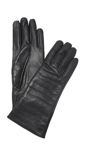Carolina Amato Mini Croc Leather Texting Gloves - Black at Shopbop