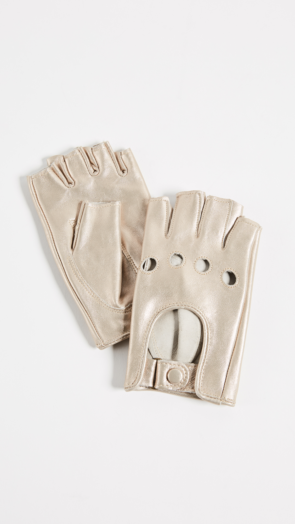 Carolina Amato Metallic Fingerless Moto Gloves - Gold