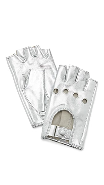 Carolina Amato Metallic Fingerless Moto Gloves at Shopbop