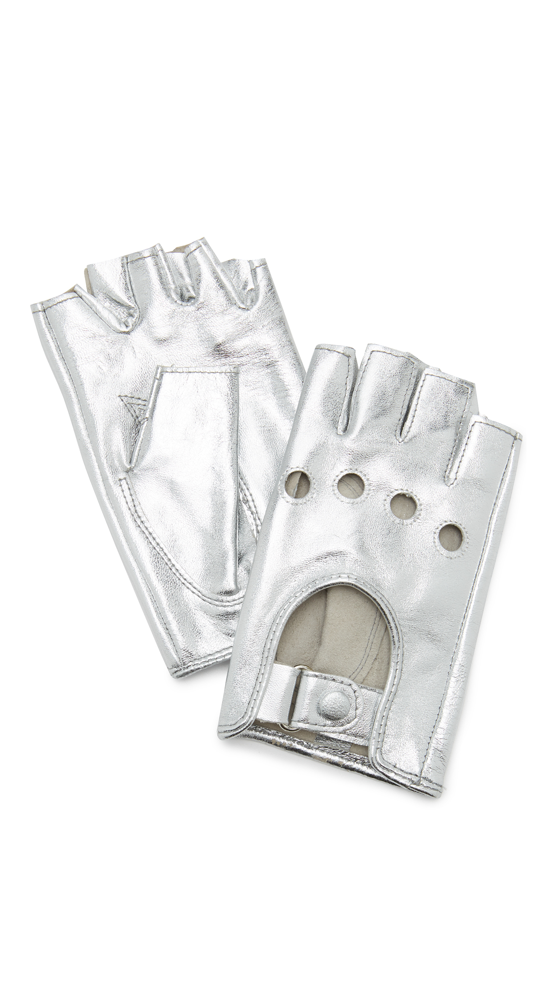 Carolina Amato Metallic Fingerless Moto Gloves - Silver