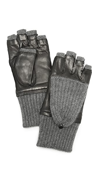Carolina Amato Leather & Cashmere Gloves at Shopbop