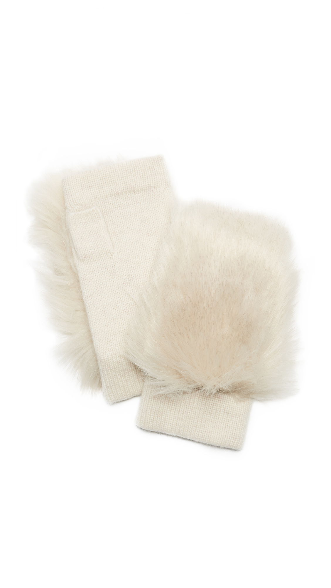 Carolina Amato Faux Fur Knit Fingerless Gloves - Oatmeal