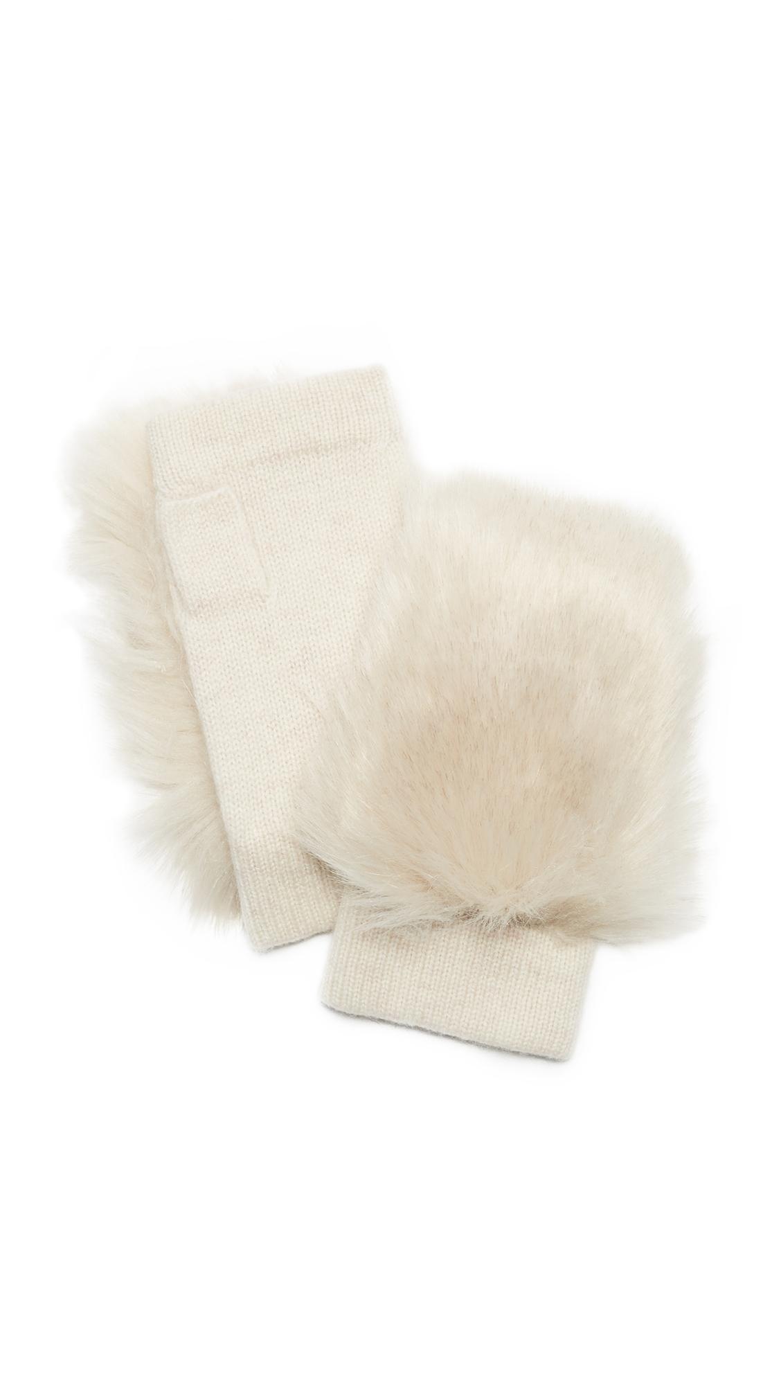 Carolina Amato Faux Fur Knit Fingerless Gloves - Oatmeal