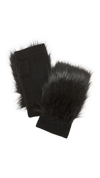 Carolina Amato Faux Fur Knit Fingerless Gloves