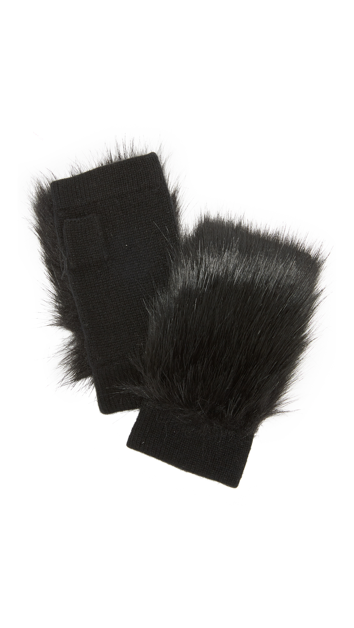 Carolina Amato Faux Fur Knit Fingerless Gloves - Black