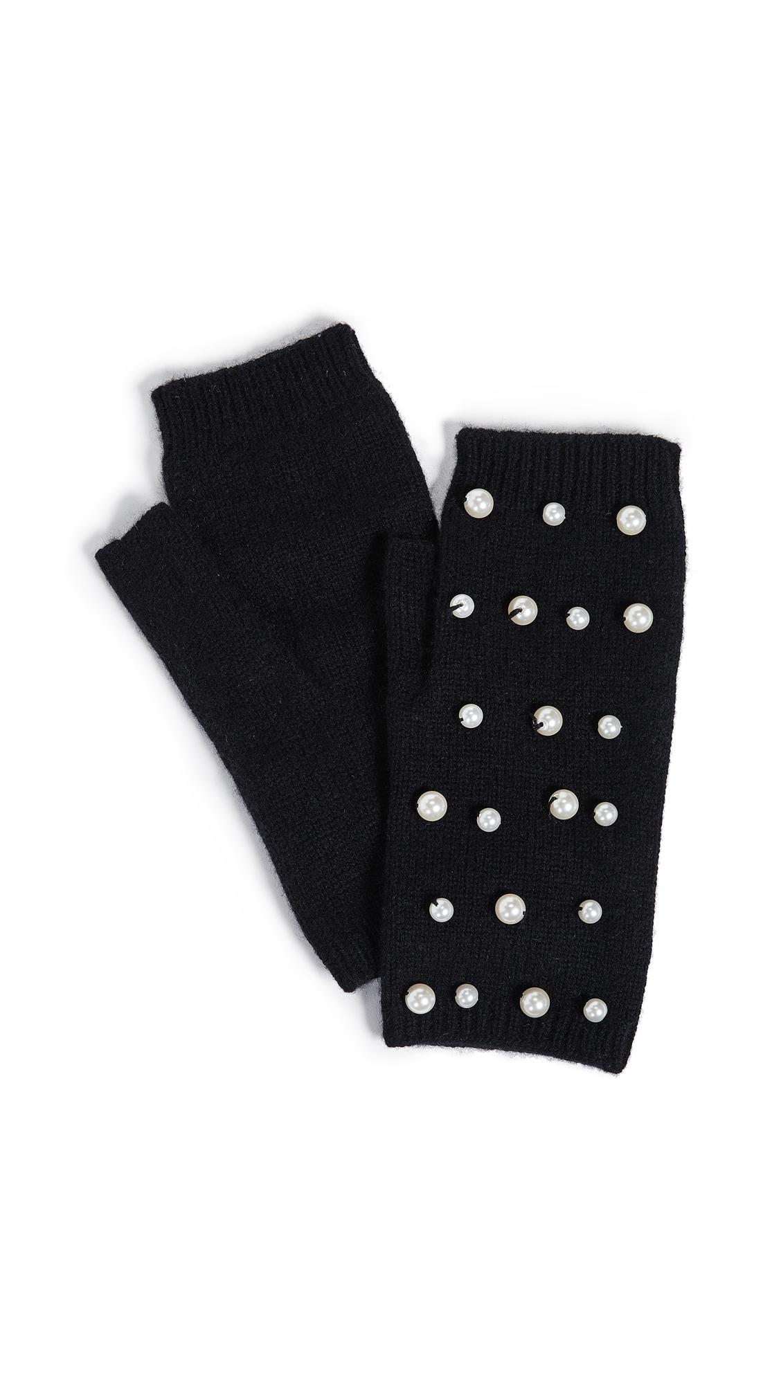 CAROLINA AMATO Imitation Pearl Fingerless Gloves in Black