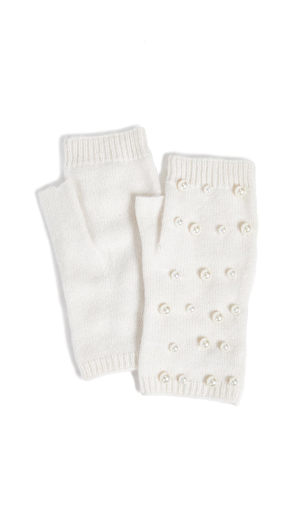 CAROLINA AMATO Imitation Pearl Fingerless Gloves in Ivory
