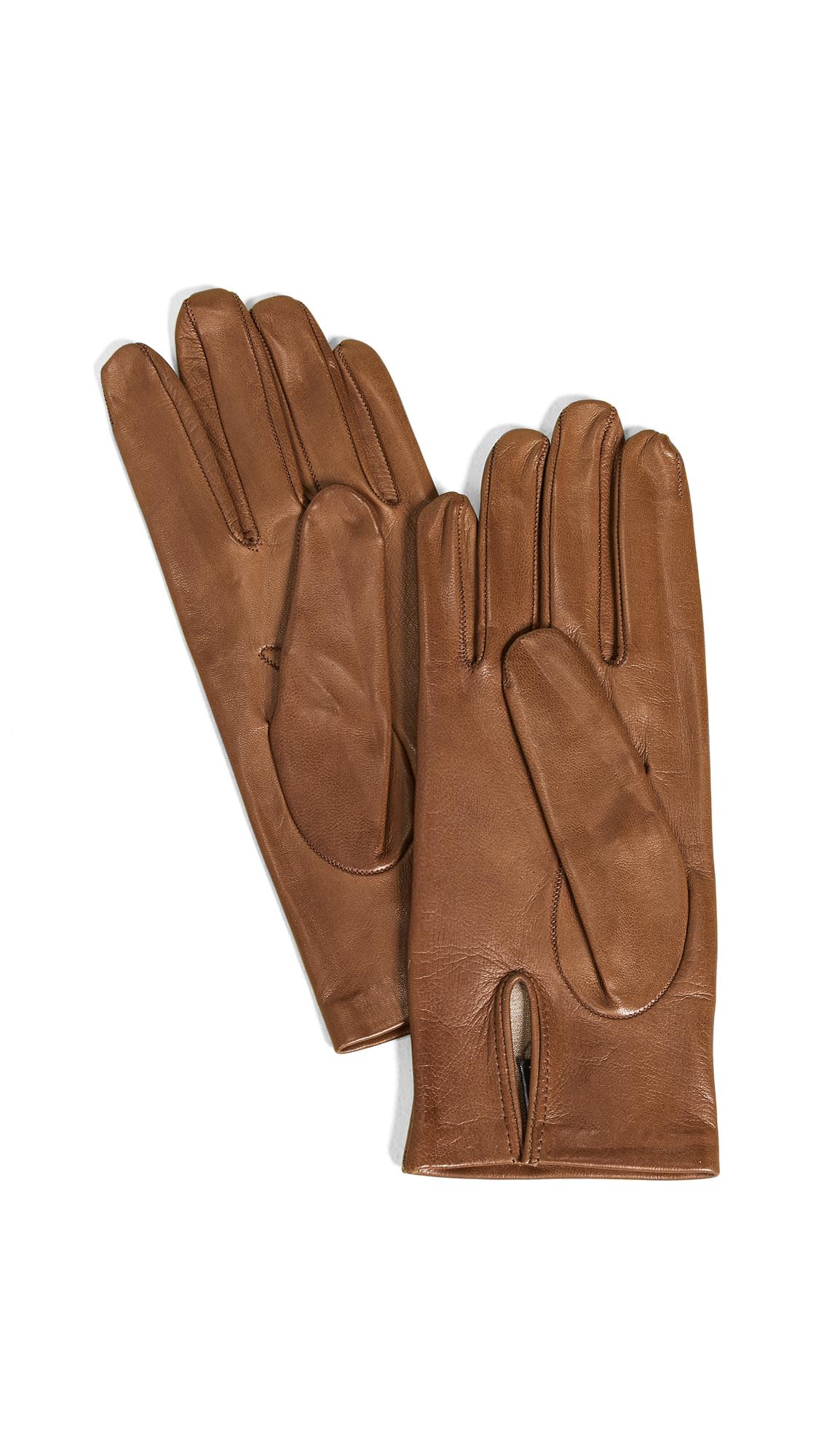 CAROLINA AMATO Full Leather Gloves in Camel