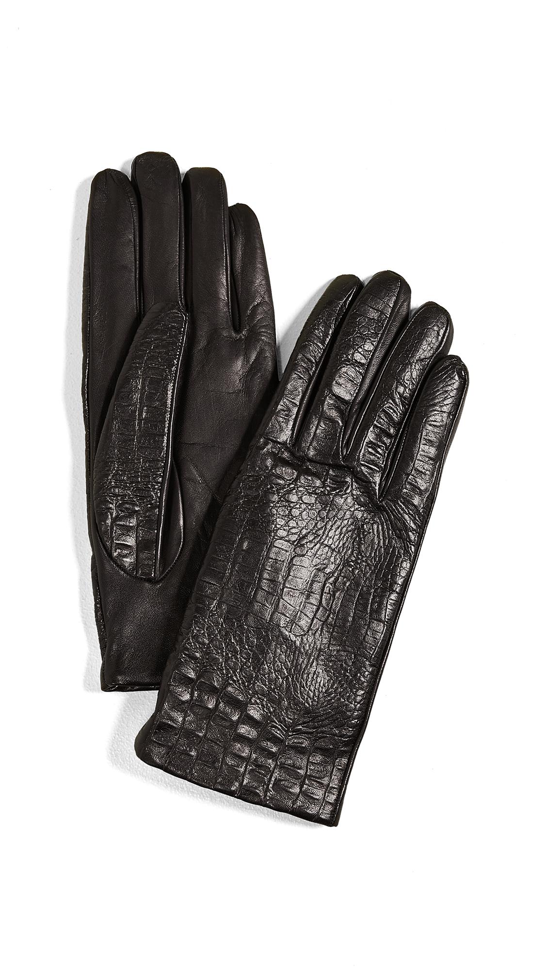 CAROLINA AMATO Croc Leather Gloves in Black