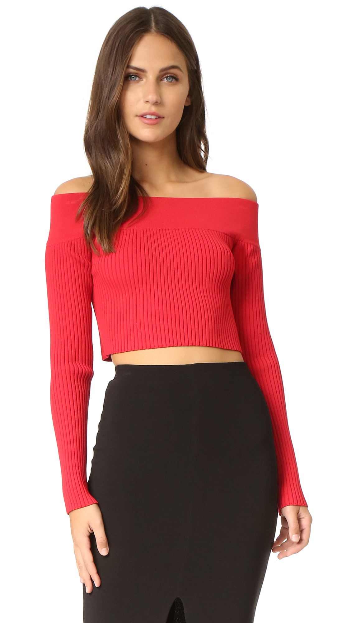 A fitted C/Meo Collective crop top in a flirty, off shoulder profile. Long sleeves. Fabric: Ribbed knit. 61% viscose/38% nylon/1% spandex. Hand wash. Imported, China. Measurements Length: 12.25in / 31cm, from center back Measurements from size XS.