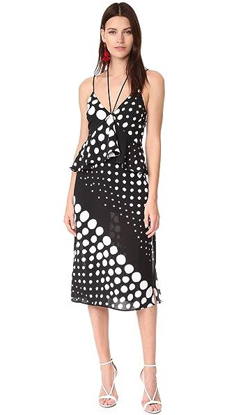 C/Meo Collective Lose Control Midi Dress - Black & White Spot