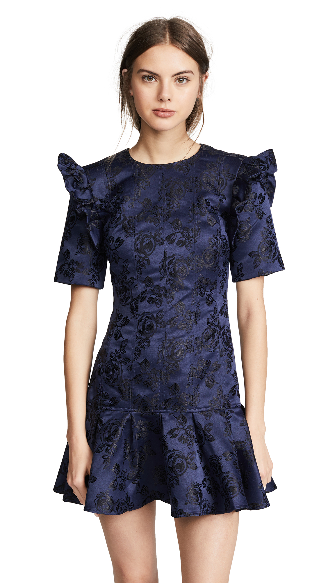 C/Meo Felted Floral Puff Sleeve Dress - Blue, Navy