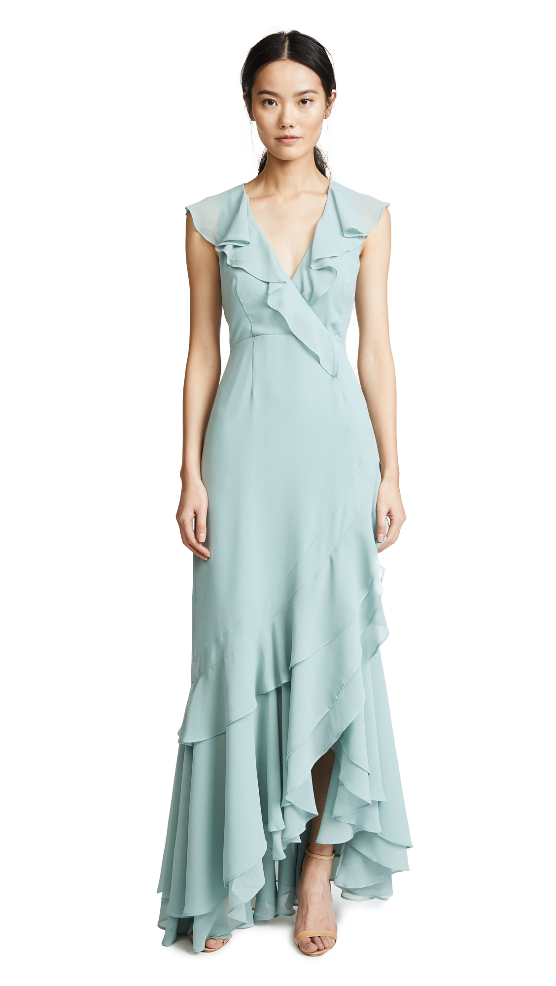 C/Meo Be About You Ruffle Gown, Sage