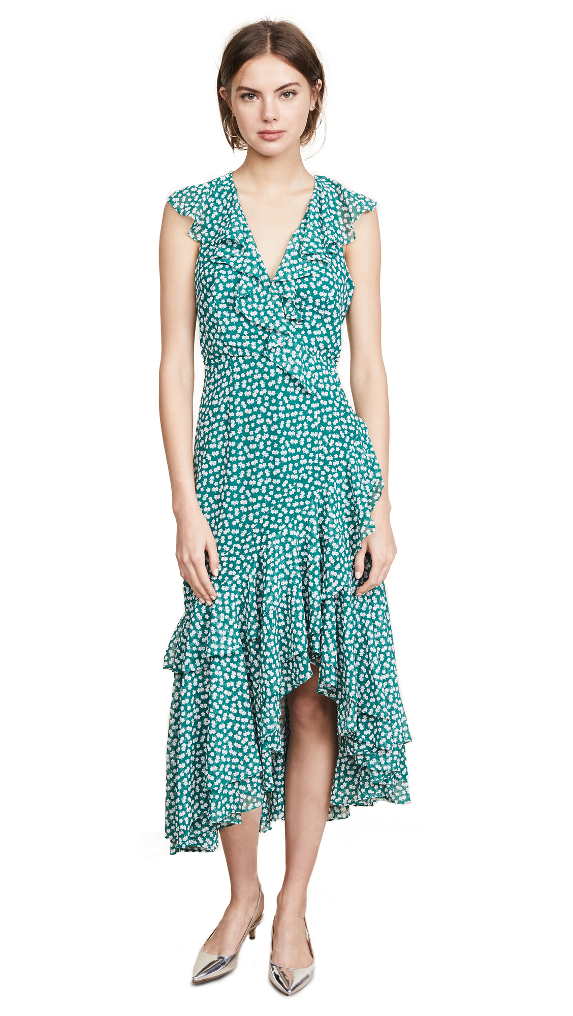 Be About You Ruffle Midi Dress, Green Daisy