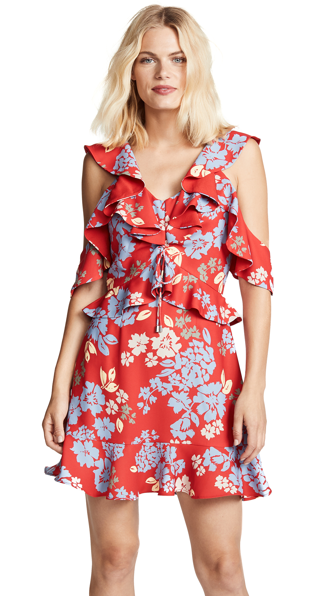 C/MEO COLLECTIVE Questions Mini Dress In Red Floral