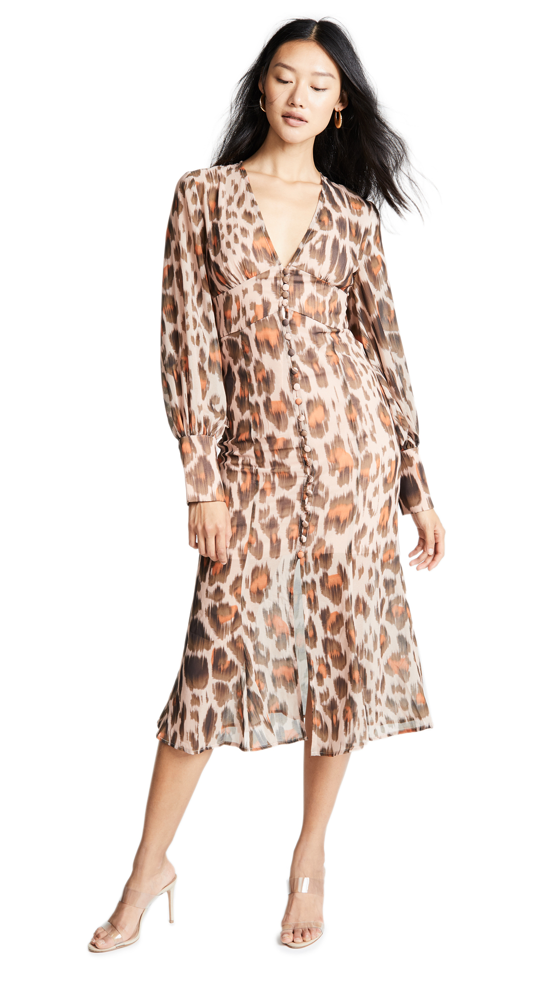 C/Meo Collective Sweet Thing Dress In Nude Leopard