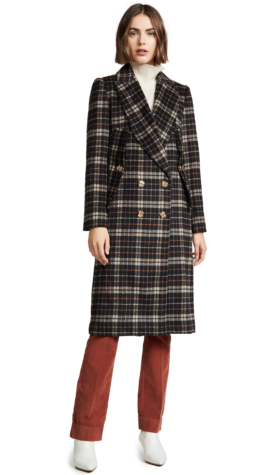 C/Meo Collective Magnets Coat In Black Check