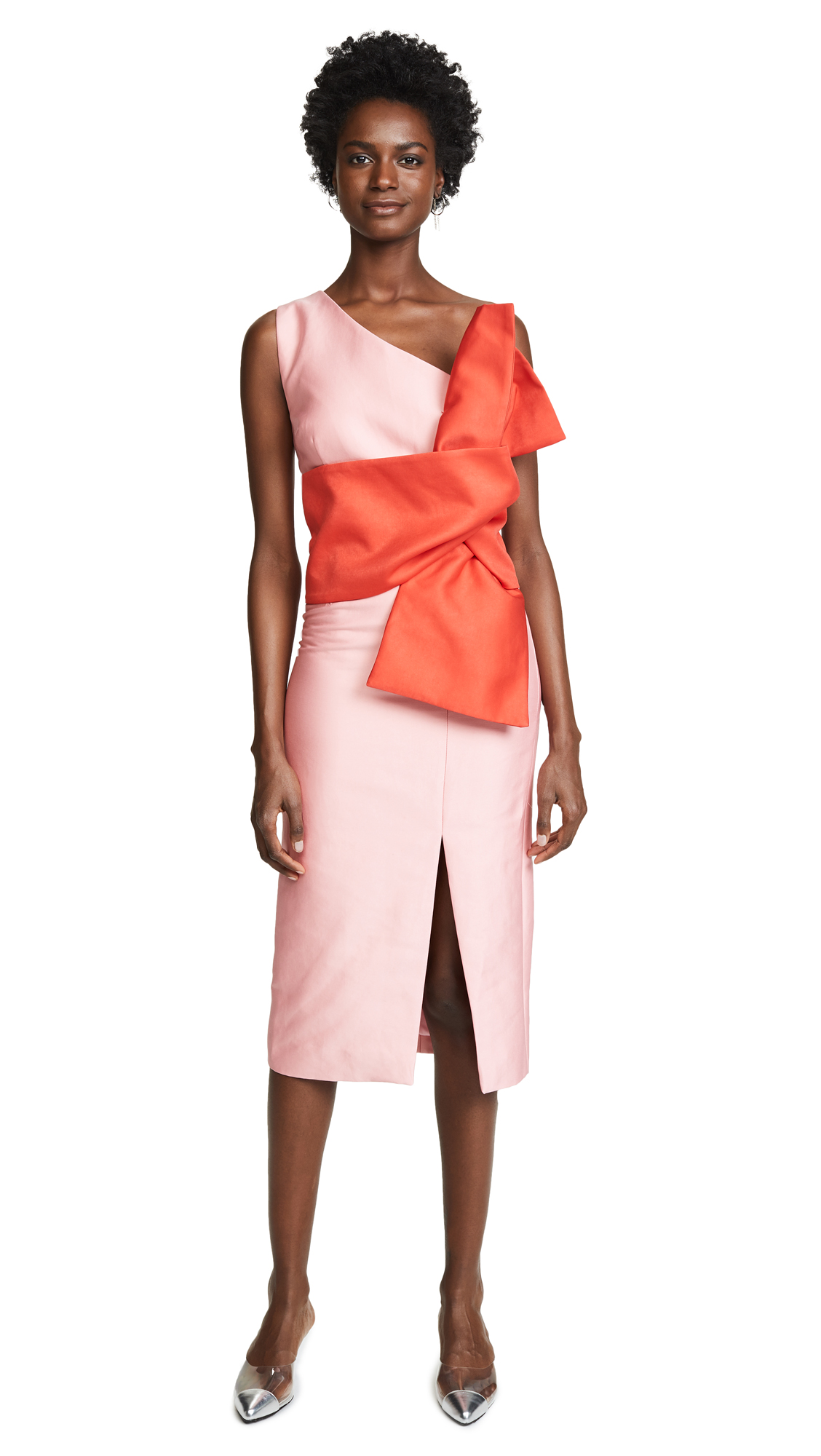 C/Meo Collective Retrograde Midi Dress In Pink/Ruby