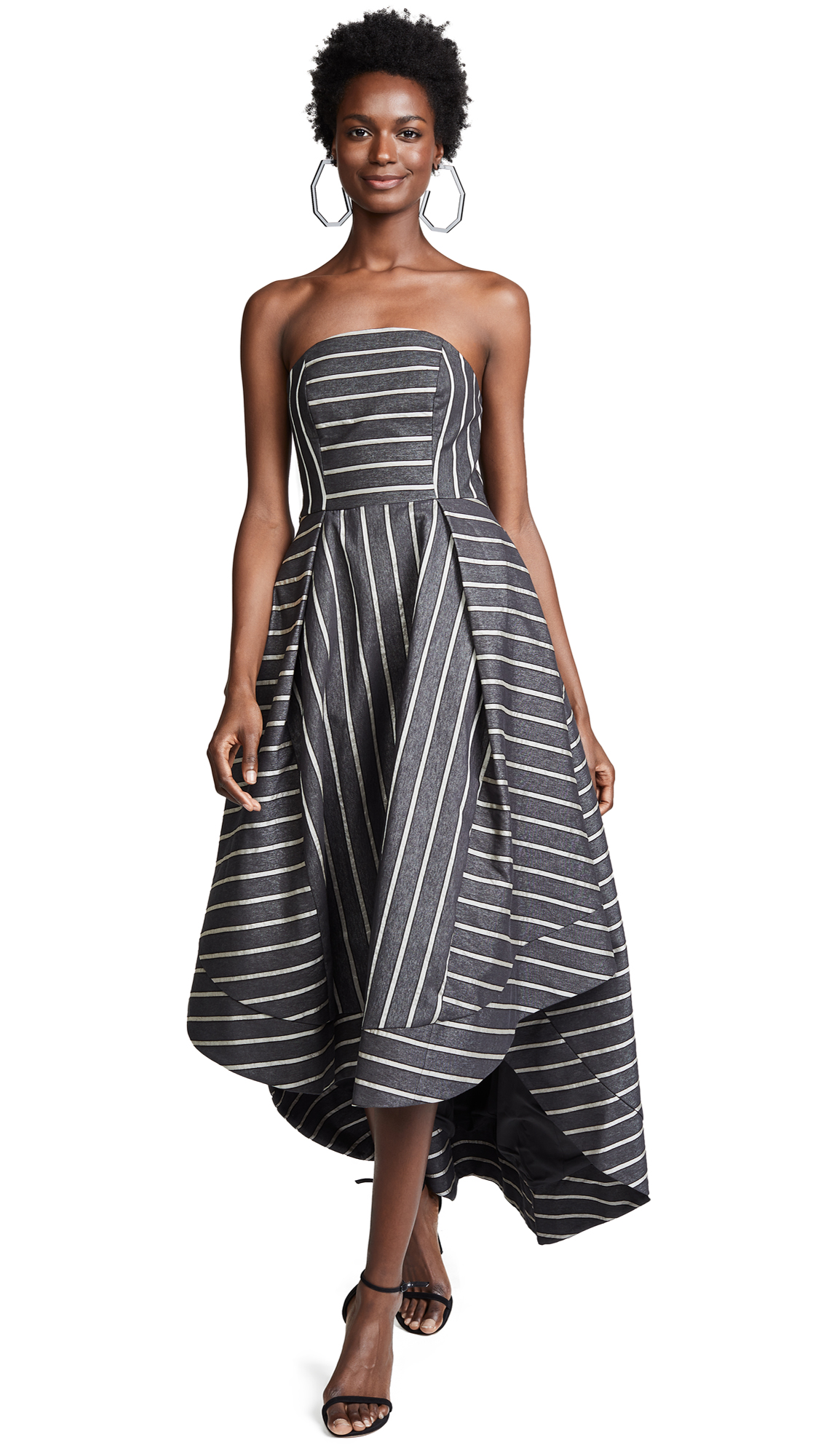 C/MEO COLLECTIVE Moments Apart Gown in Navy Stripe