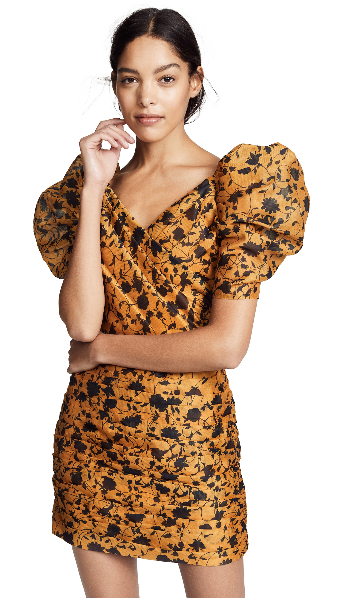 C/MEO COLLECTIVE Love Hate Mini Dress in Marigold Floral