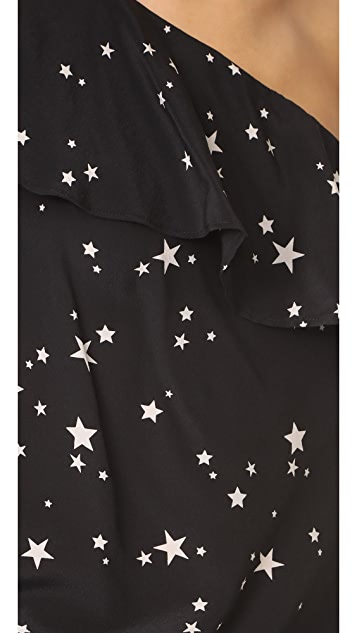 CAMI NYC One Shoulder Ruffle Stars Blouse