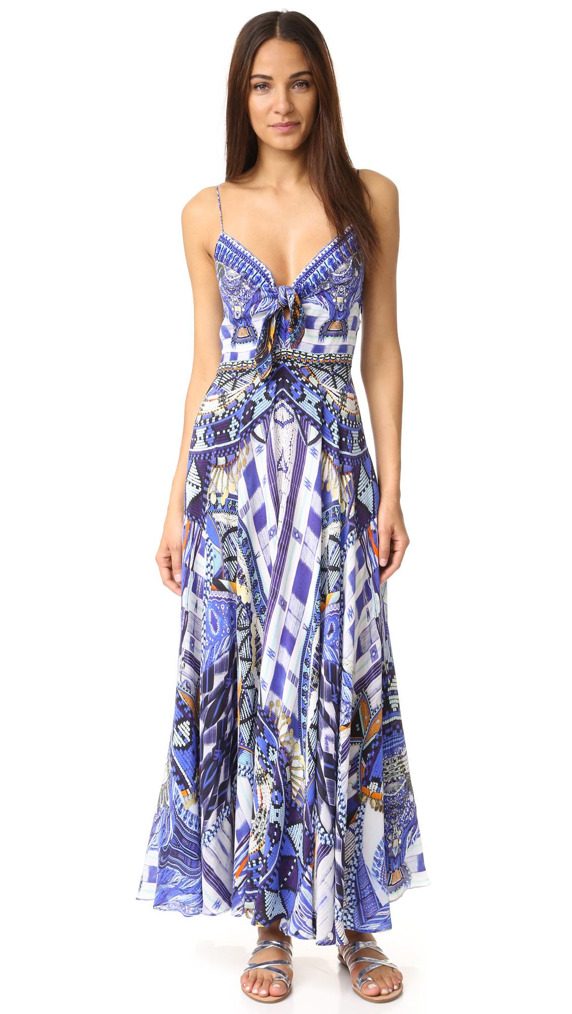 camilla female  camilla rhythem blues long dress with tie front rhythm blues