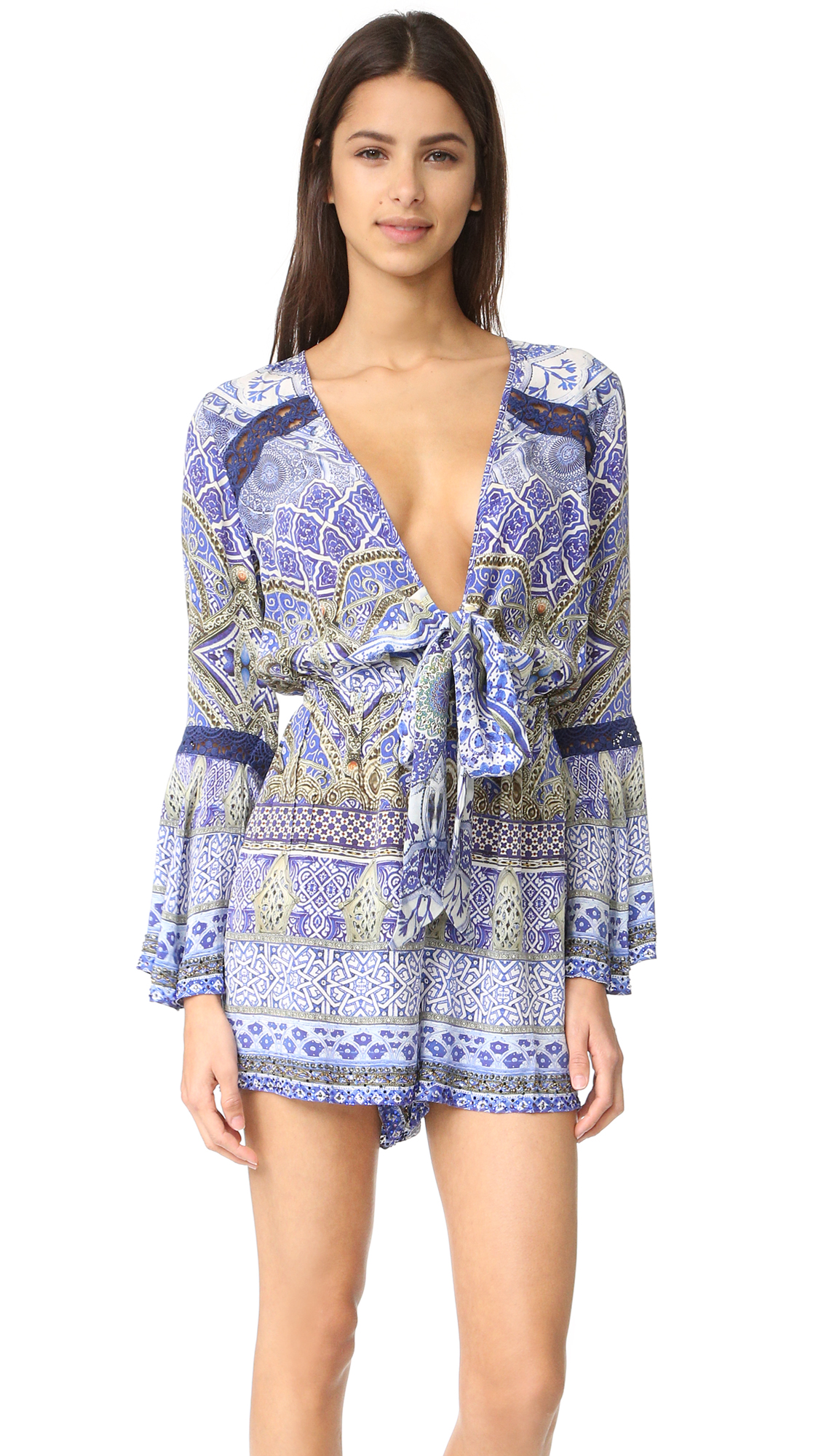camilla female camilla low front tie waist playsuit all a dream