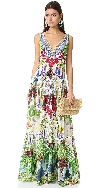 Camilla Tiered Gathered V Neck Dress