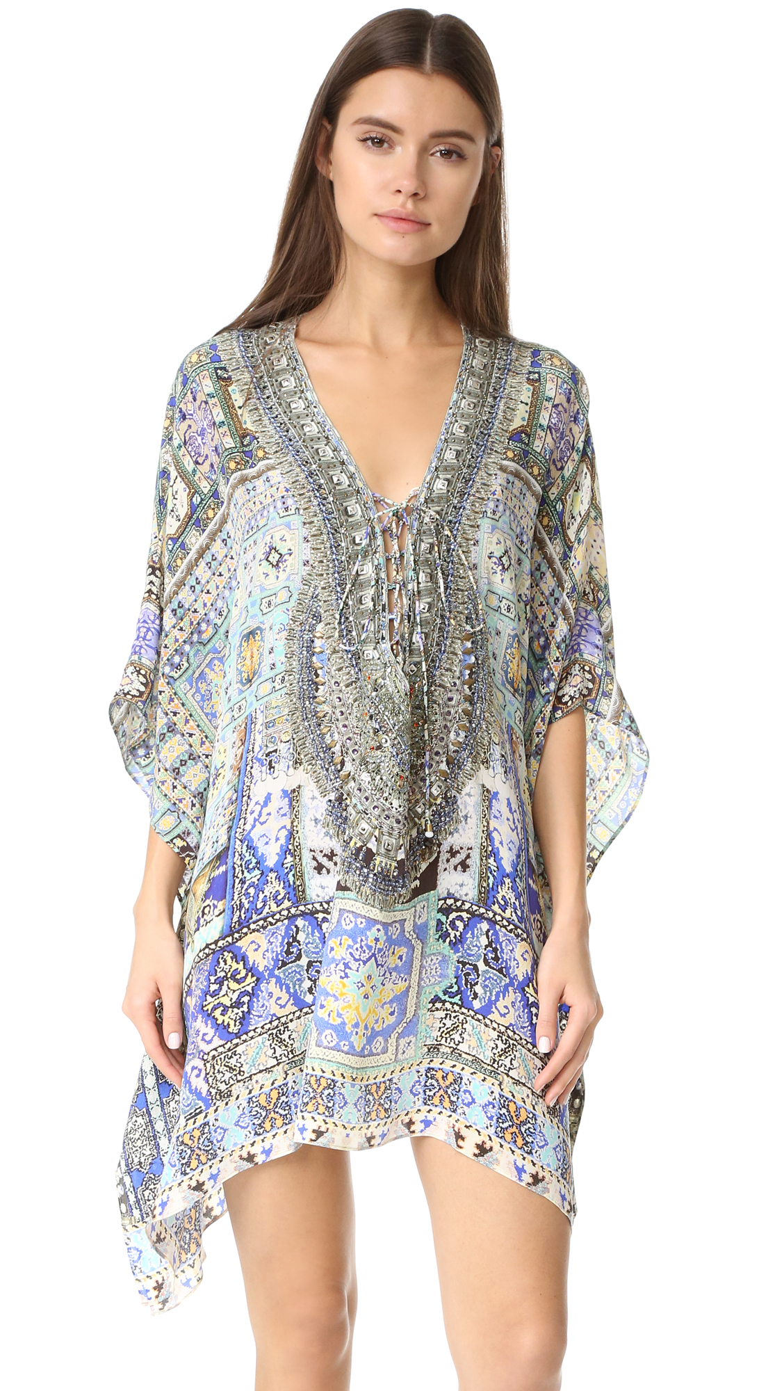 camilla female camilla short lace up caftan weave of humanity