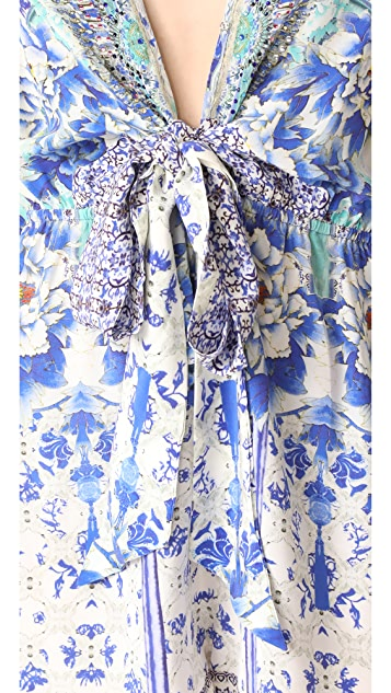 Camilla Porcelain Paradise Tie Front Romper