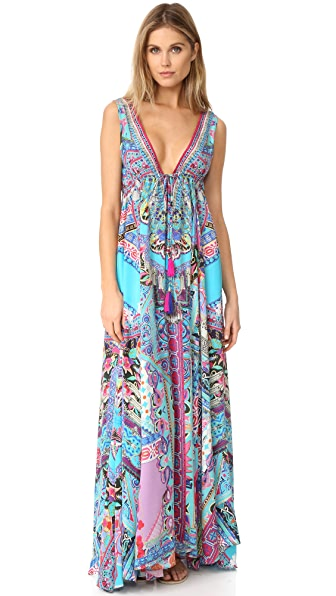 Camilla Festival Friends Long V Neck Drawstring Dress