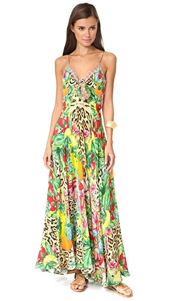 Camilla Cool Cat Long Dress with Tie Front In Cool Cat