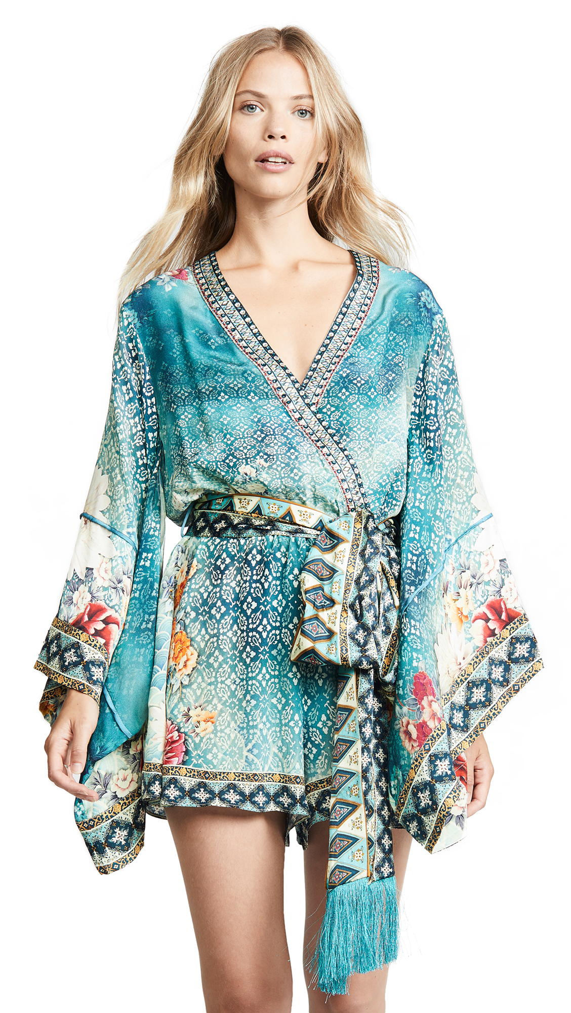 Camilla Kimono Sleeve Playsuit with Obi Belt - Heirloom